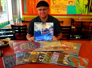 Yuri Ruley, drummer from MxPx, signing records in Bremerton, WA