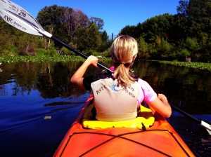 Kayaking with my wife Emily, in the University of Washington Arboretum